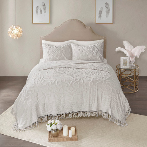 3pc Soft Grey Cotton Chenille Medallion Coverlet  AND Decorative Shams