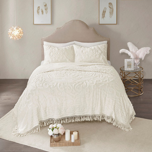 3pc Ivory Cotton Chenille Medallion Coverlet AND Decorative Shams (Laetitia-Ivory-cov)