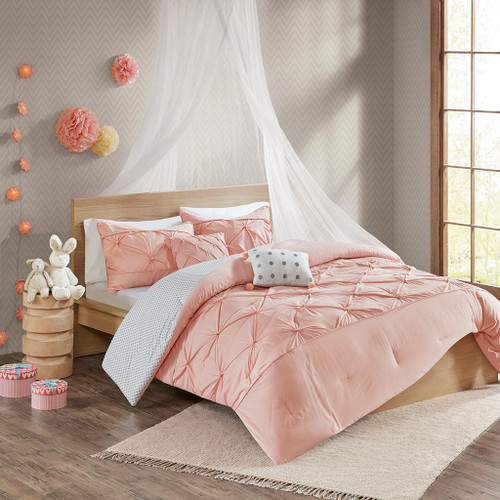 Blush Pink & Grey Polka Dots Comforter Set AND Decorative Pillows (Aurora-Blush)