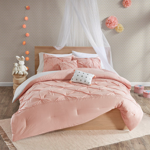Blush Pink & Grey Polka Dots Reversible Duvet Cover AND Decorative Pillows (Aurora-Blush-duv)