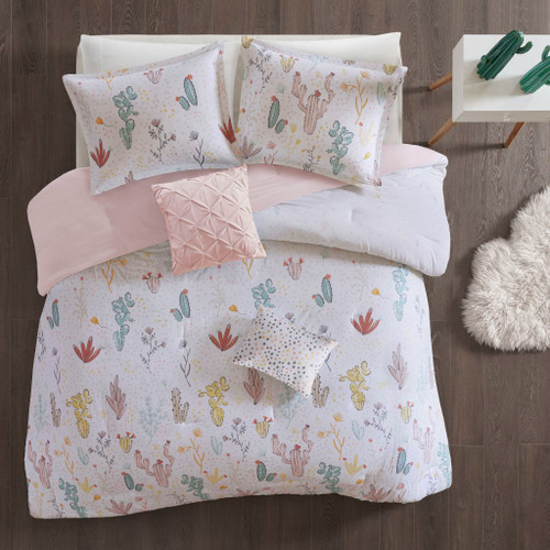 Whimsical Desert Cactus & Flowers Duvet Cover AND Decorative Pillows (Desert Bloom-Red Multi-duv)