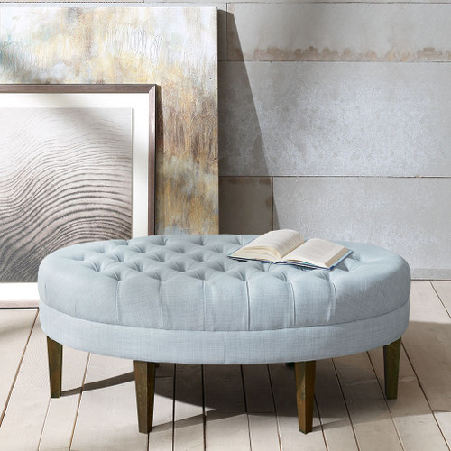 Dusty Blue Oval Shaped Button Tufted Top Surfboard Ottoman (Martin-Dusty Blue-Benches)
