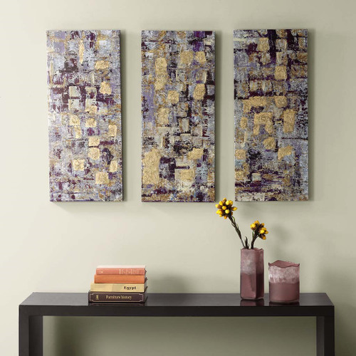 "3pc Shades of Purple & Gold  Abstact Gel Coat Printed Canvas Wall Art - 15x35"" Each"