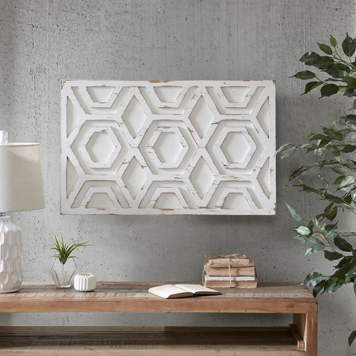 Ralston White Wooden Wall Art with Pattern (Ralston- White-Art)