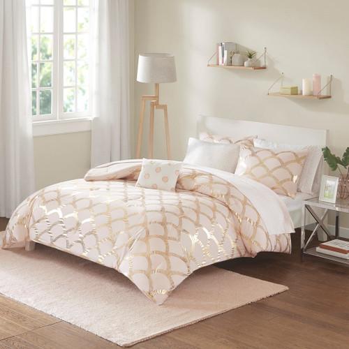 Pink Blush & Metallic Gold Scallop Design Comforter Set AND Sheet Set (Lorna-Blush)