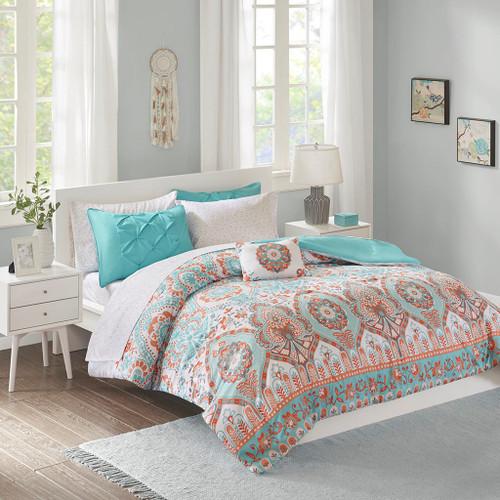 Aqua & Orange Medallion Motif Comforter Set AND Sheet Set (Vinnie-Blush)