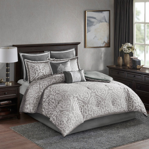 8pc Silver & Grey Textured Jacquard Comforter Set AND Decorative Pillows (Odette-Silver)