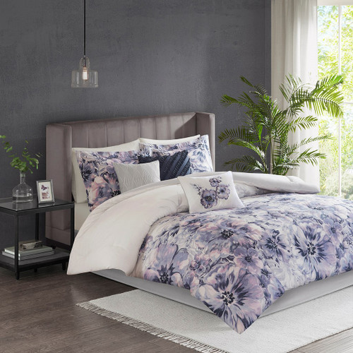 7pc Purple Floral Watercolor Print Comforter Set AND Decorative Pillows (Enza-Purple)