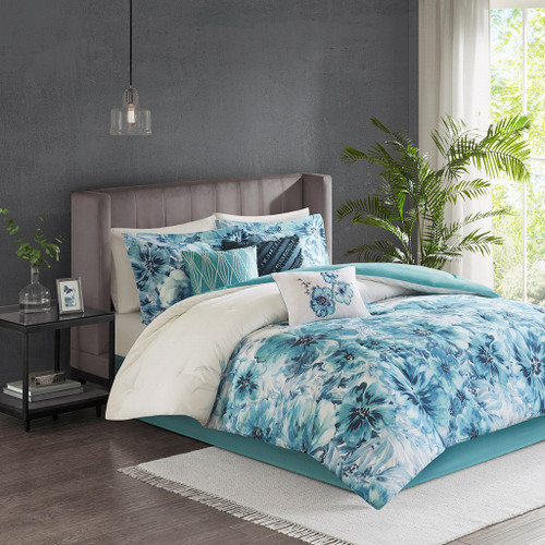 7pc Teal Blue Floral Watercolor Print Comforter Set AND Decorative Pillows (Enza-Teal)