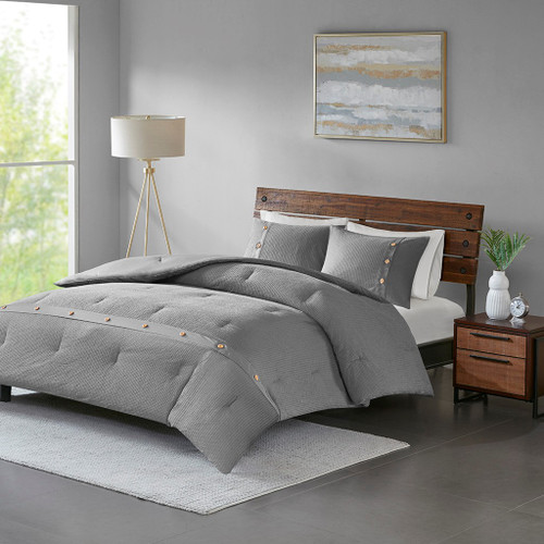 3pc Grey Cotton Waffle Weave Comforter AND Decorative Shams (Finley-Grey)