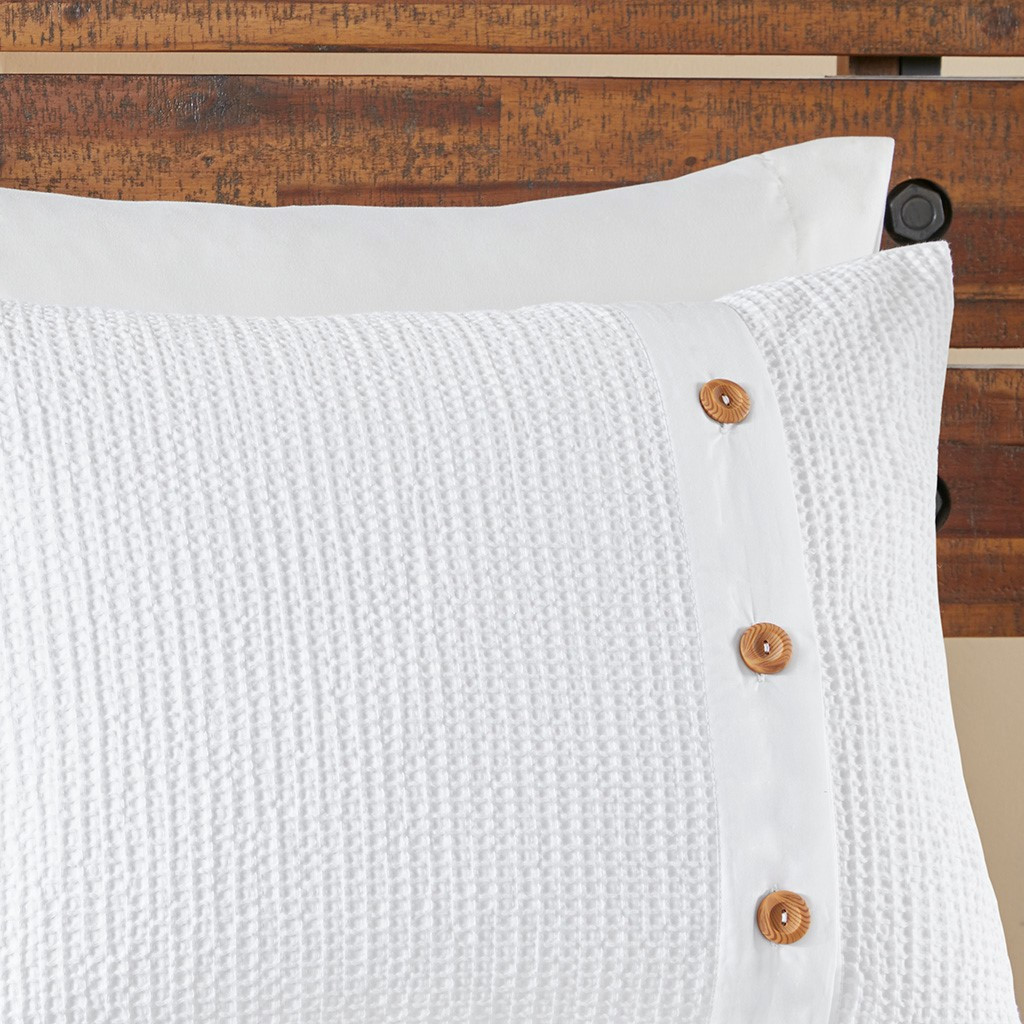 3pc White Cotton Waffle Weave Comforter AND Decorative Shams (Finley-White)
