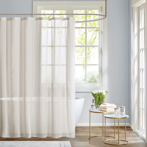 Anna White Sheer Shower Curtain (Anna -White-Shower)
