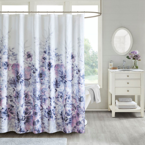 Enza Floral Purple 100% Cotton Printed Shower Curtain (Enza-Purple-Shower)