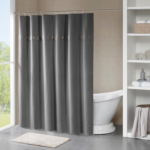 Finley Grey 100% Cotton Waffle Weave Textured Shower Curtain (Finley -Grey-Shower)