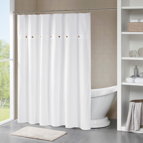 Finley White 100% Cotton Waffle Weave Textured Shower Curtain (Finley -White-Shower)