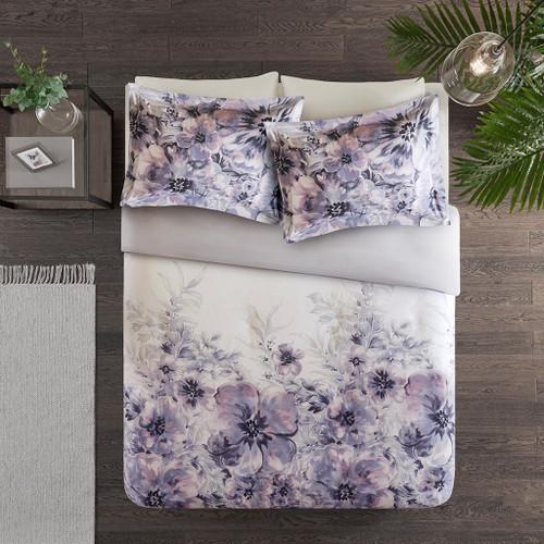 3pc PurpleFloral Watercolor Print Duvet Cover AND Decorative Shams (Enza-Purple-duv)