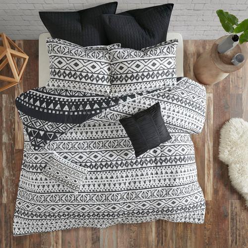 7pc Black & White Geometric Medallion Duvet Cover AND Decorative Pillows (Larisa-Black-duv)