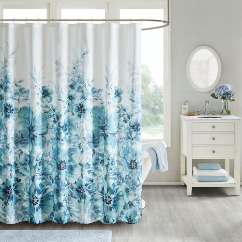 Enza Floral Teal 100% Cotton Printed Shower Curtain (Enza -Teal-Shower)