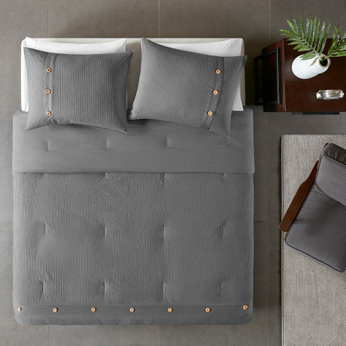 3pc Grey Cotton Waffle Weave Duvet Cover AND Decorative Shams (Finley-Grey-duv)