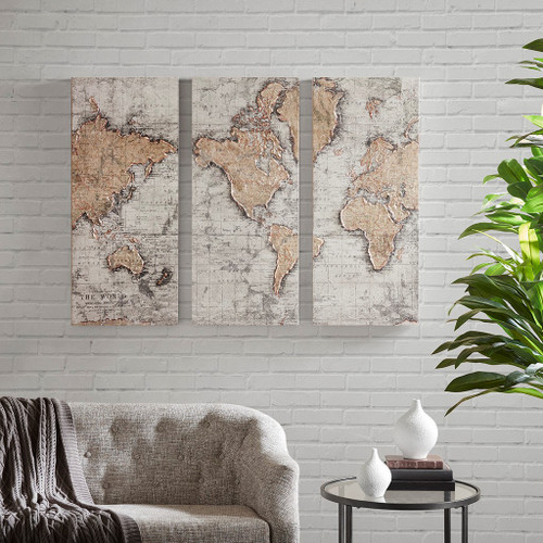 Map of the World Natural Printed Canvas with 30% Hand Brush Embellishment Set of 3 (Map of the World -Natural-Art)