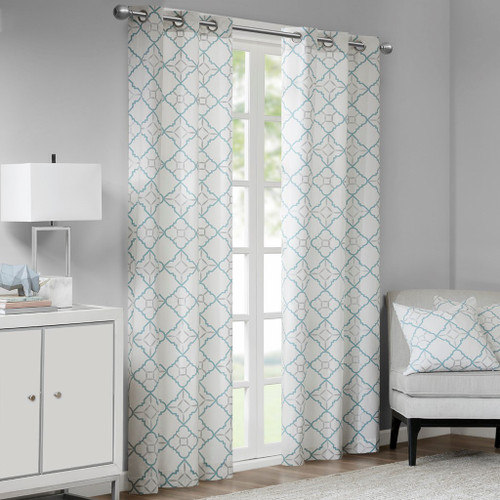 Set of 2 Cotton Aqua & Metallic Silver Print Window Curtain Panels (Hayes-Aqua-window)