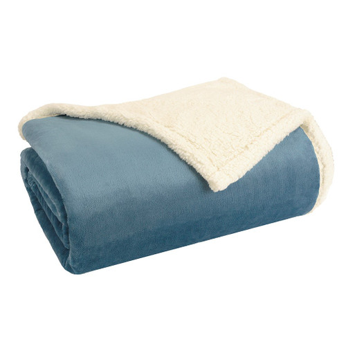 Blue & Ivory Reversible Berber Plush Blanket (Microlight-Blue-Blanket)