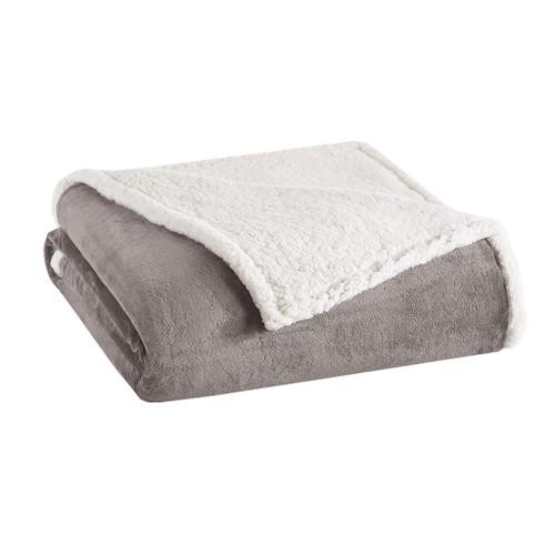 Grey & Ivory Reversible Berber Plush Blanket (Microlight-Grey-Blanket)