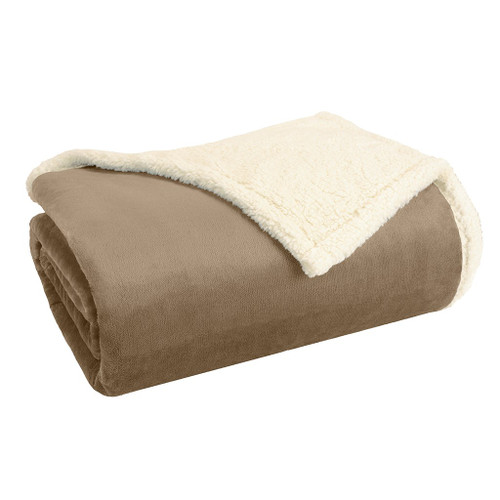 Khaki Brown & Ivory Reversible Berber Plush Blanket (Microlight-Khaki-Blanket)
