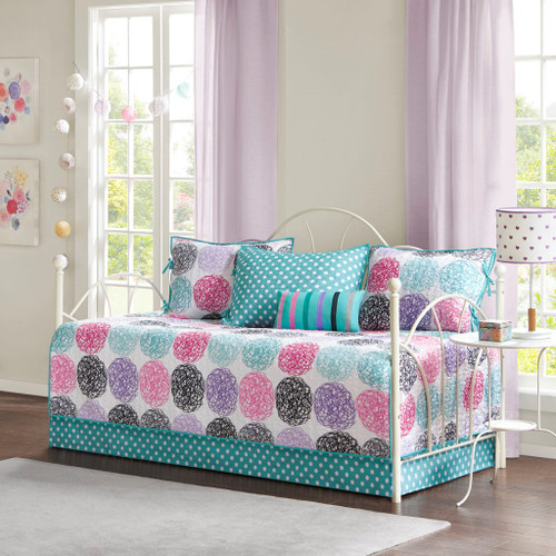 6pc Purple Pink & Teal Large Polka Dots Daybed Set AND Decorative Pillow (Carly-Purple-DB )