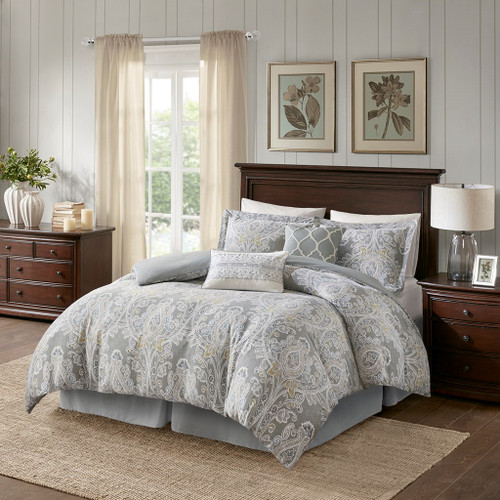6pc Grey Damask Print Reversible Comforter Set AND Decorative Pillows (Hallie-Grey)