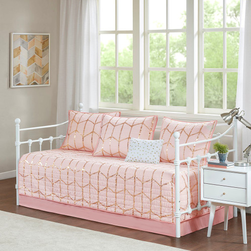 6pc Pink Blush & Metallic Gold Geometric Daybed Set AND Decorative Pillow (Raina-Pink-DB )