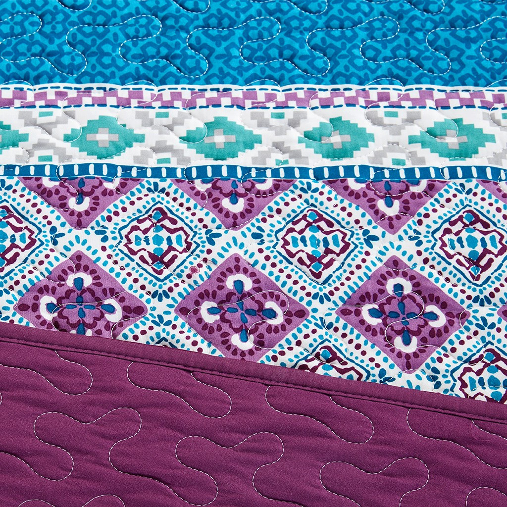 6pc Purple Blue Grey Geometric Daybed Set And Decorative Pillow Joni Purple Db