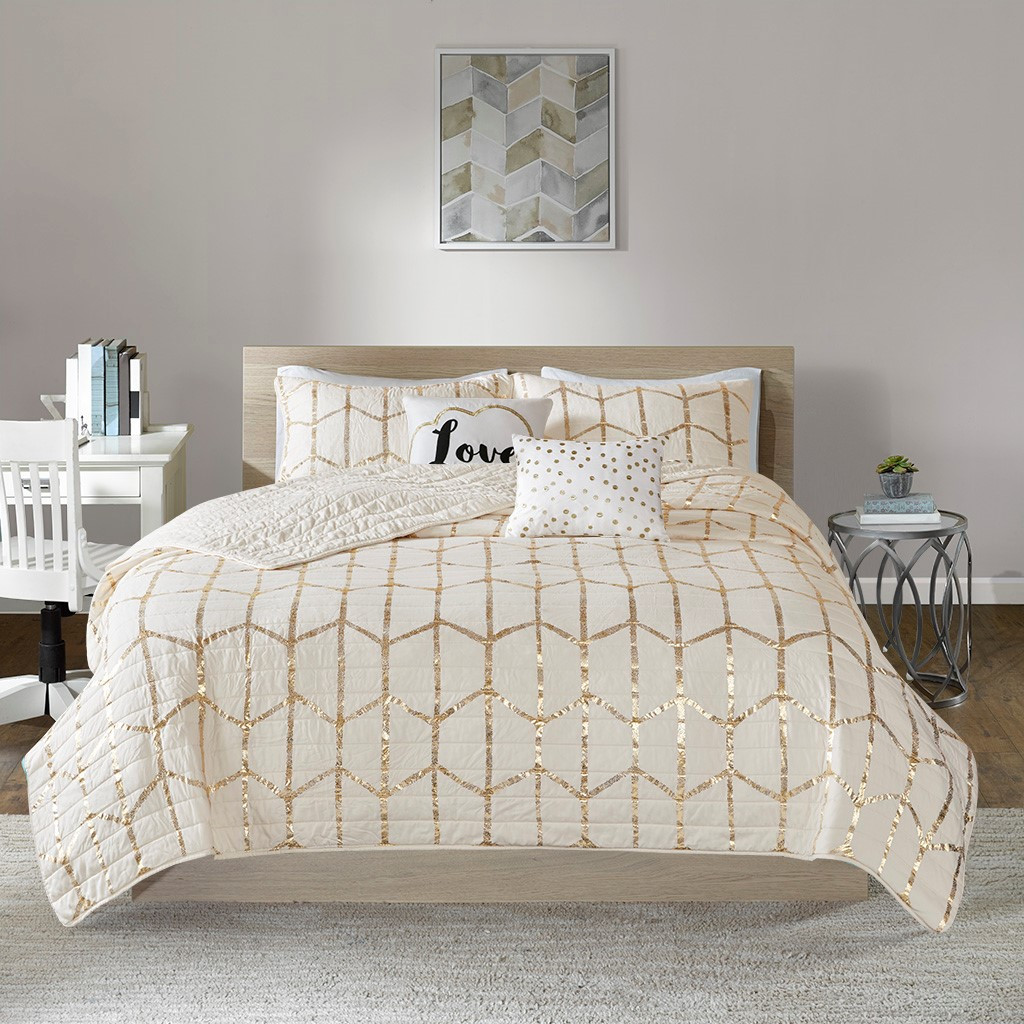 Ivory & Metallic Gold Geometric Coverlet Set AND Decorative Pillows (Raina-Ivory/Gold-cov)