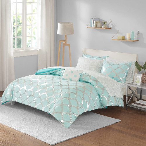 Aqua Blue & Metallic Silver Scallop Design Comforter Set AND Sheet Set (Lorna-Aqua)