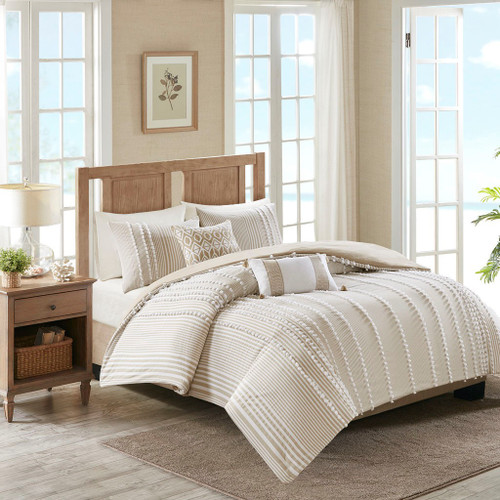 3pc Oversized Taupe & White Textured Stripe Comforter AND Decorative Shams (Anslee-Taupe)
