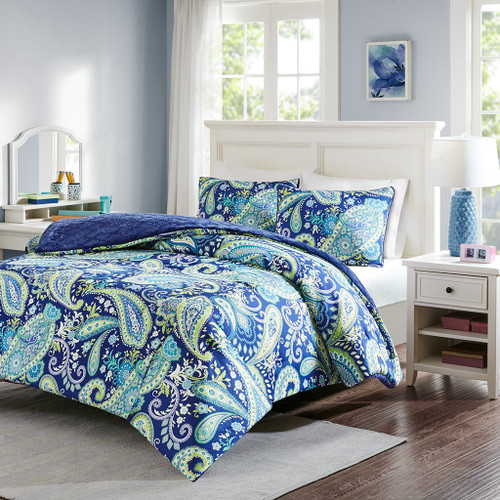 Blue & Lime Green Paisley Print Reversible Comforter AND Decorative Shams (Melissa-Blue)
