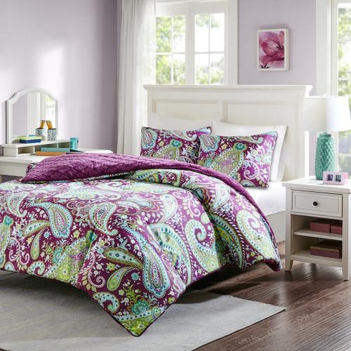 Purple & Yellow Paisley Print Reversible Comforter AND Decorative Shams (Melissa-Purple)