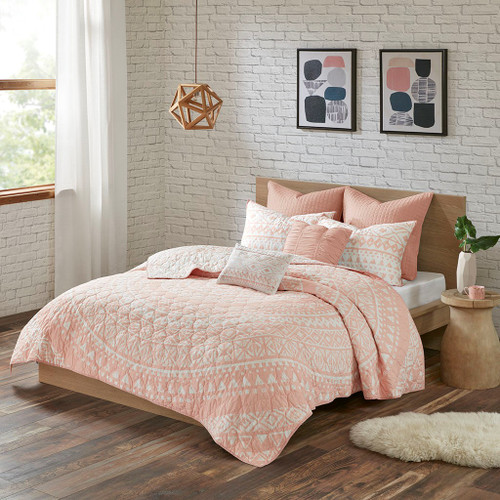 7pc Blush Pink & White Geometric Medallion Coverlet Set AND Decorative Pillows (Larisa-Blush-cov)