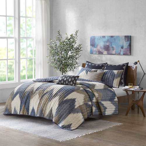 3pc Aqua & Grey Chevron 200TC Cotton Coverlet AND Decorative Shams (Alpine-Navy-cov)