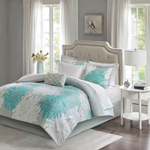 Aqua Blue Grey & White Floral Comforter Set AND Matching Sheet Set (Maible-Aqua)