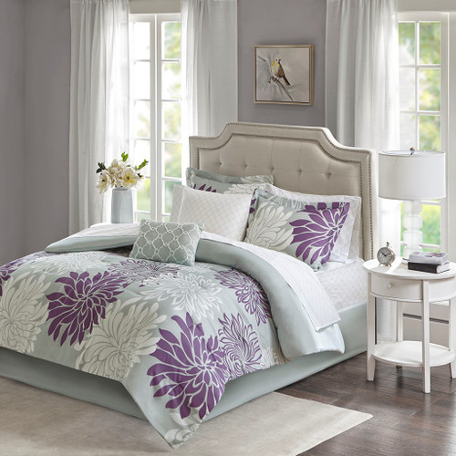 Purple Grey & White Floral Comforter Set AND Matching Sheet Set (Maible-Purple)