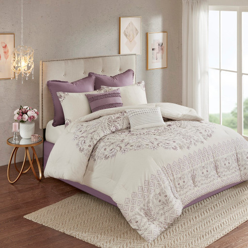 8pc Purple Floral Cotton Reversible Comforter Set AND Decorative Pillows (Elise-Purple)