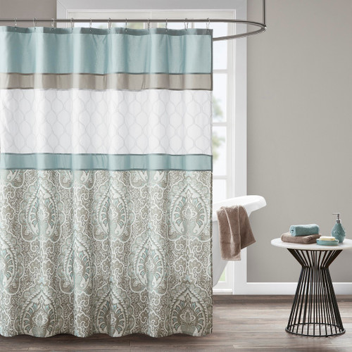 "Blue & White Embroidered Shower Curtain - 72x72"" (Shawnee-Blue-Shower)"