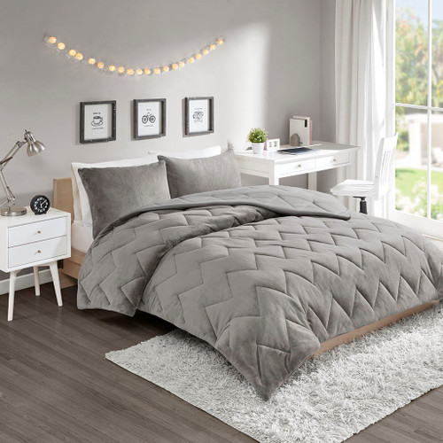 Solid Grey Reversible Chevron Quilted Comforter AND Decorative Shams (Kai-Grey)