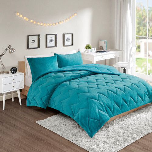 Solid Teal Blue Reversible Chevron Quilted Comforter AND Decorative Shams (Kai-Teal)