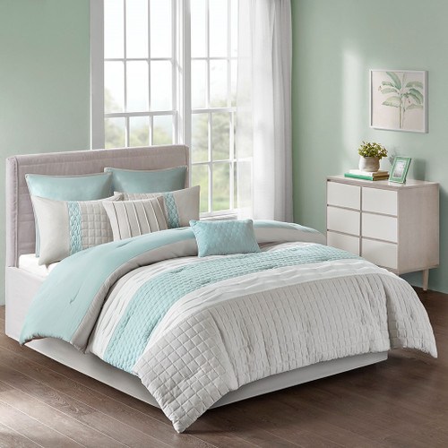 8pc Seafoam Grey & White Textured Comforter Set AND Decorative Pillows (Tinsley-Seafoam/Grey)