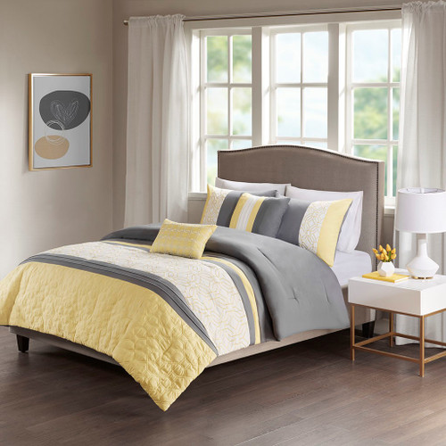 5pc Yellow Grey & White Embroidered Comforter Set AND Decorative Pillows (Donnell-Yellow/Grey)