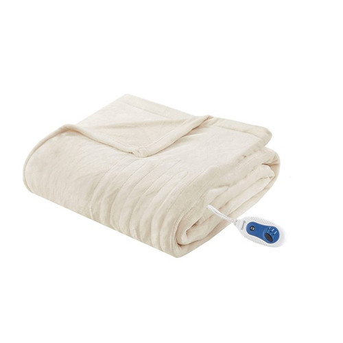 Heated Plush Throw Ivory (Heated Plush-Ivory-Throw)
