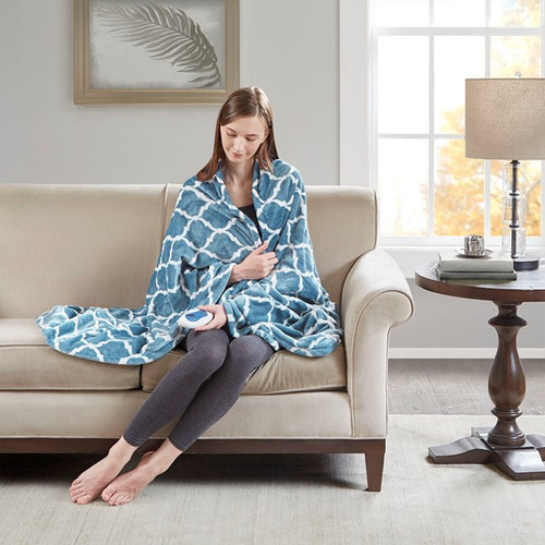Heated Ogee Throw Aqua (Heated Ogee-Aqua-Throw)