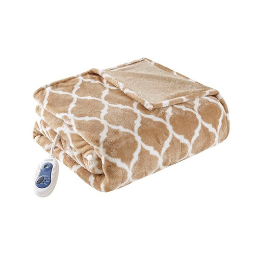 Oversized Tan & White Heated REversible Ogee Throw - 60x70""